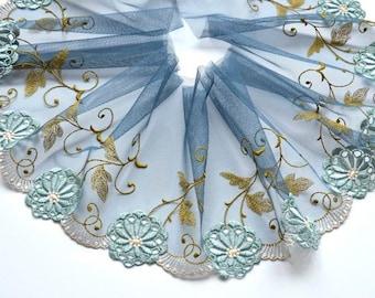 Pizarra azul de encaje de corte, Aqua bordado de recorte encaje Floral, encaje moda, muñecas, Upcycling, artesanía de encaje