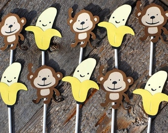 Set of 12 Monkey and Banana Cupcake Toppers, Monkey Birthday Party, Safari Party, Jungle party