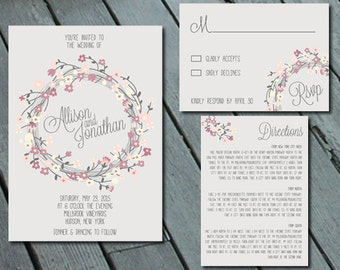 Rustic Floral Wreath WEDDING Invitation Suite with RSVP and Info Card DIY Printable Digital Files