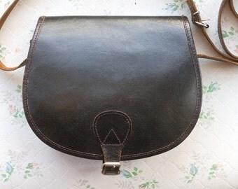 Classic Leather Satchel - Dark Chocolate Messenger Bag - Old School Handbag