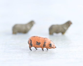 Tiny Lead Farm Animals - Iron Cast Pink Pig and Sheep - Antique Miniature Toys