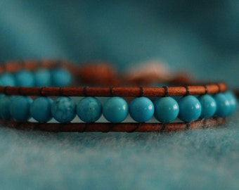 Inspired boho stackable Southwest single leather wrap bracelet with turquoise beads on brown leather (B316)