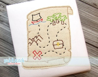 Pirate Map Applique Design Machine Embroidery INSTANT DOWNLOAD
