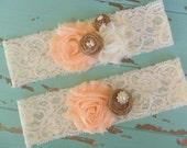 Rustic Wedding Garter, Bridal Garter Set, Rustic, Country Shabby Chic, Peach Garter, Woodland Garter, Wedding Accessory, YOUR CHOICE COLOR