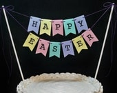 Easter cake banner, Happy Easter garland, Spring bunting, Resurrection, Pastel Colors