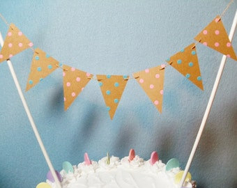 Cake Topper Garland, Rustic Wedding, Dots Pink Blue Bunting, Gender Reveal, Baby Shower Banner