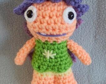 Made to order, Hand crocheted Wallykazam Similar Libby Light Sprite like Fairy Amigurumi Doll