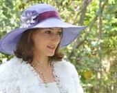 Elegant wide brim straw summer hat for women,  Purple Derby hat,  Ascot hat,  ladies sun hat