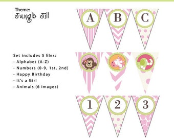 JUNGLE JILL Banner, Letters and Numbers, Instant DOWNLOAD, by Cupcake Stylist on Etsy