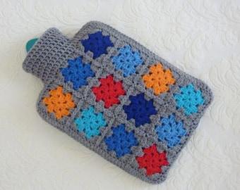 Crochet hot water bottle cover hottie granny square