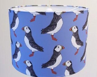 Puffin Lampshade - nautical lampshade - bird lampshade - puffin - ceiling lampshade - blue lampshade - green lampshade - table lampshade