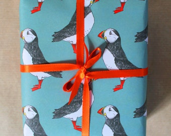 Puffin Gift Wrap - nautical wrapping paper - puffin wrapping paper - birthday wrapping paper - gift wrap for men - gift wrap - decoupage