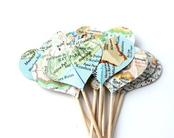 12 Map Heart Cupcake Toppers, Vintage Map, Cake Topper, Weddings, Showers, Travel, Birthday Party