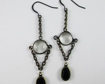 Glass Bubble Earrings with Vintage Black Glass Drop