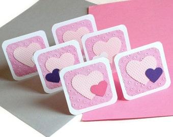 Pretty heart cards - set of six 6 (MC1)