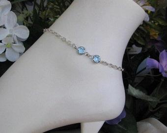 Sterling Silver Fill Ankle Bracelet-March Birthstone Anklet-Aquamarine Birthstone-Stainless Steel Birthstone Anklet-Non Tarnish Anklet