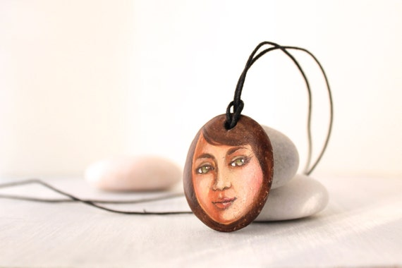 Painted stone. portrait on stone. stone necklace