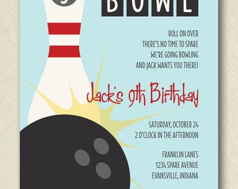 bowling birthday party invite PRINTABLE digital file DIY