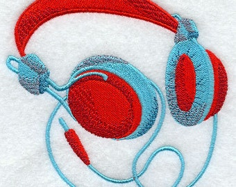 Music Headphones Embroidered Flour Sack Hand/Dish Towel