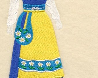 Swedish Dress Form Embroidered Flour Sack Hand/Dish Towel