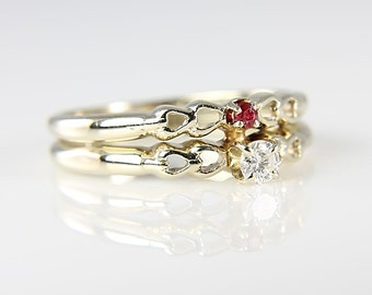 Wedding Bridal Ring Set, Diamond Ruby 14K White solid Vintage Gold Ring size 4, Heart Accents