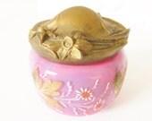 Antique Art Nouveau Pink Opalescent Glass Powder Jar hand painted