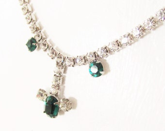 SALE Vintage Emerald Green Rhinestone Necklace