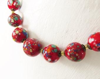 Vintage Red Murano Venetian Beaded Necklace Millefiori 1920s