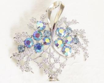 Vintage Coro Blue Rhinestone Flower Basket Brooch signed