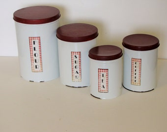 Vintage Set of Metal Canisters - set of four - Red & White
