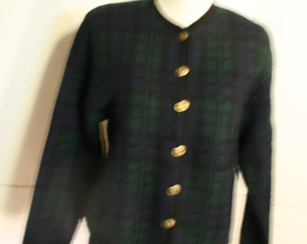 Vintage 80s Wool Watch Plaid Tally-Ho button front Jacket 1980s sz PS Pollak