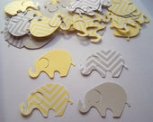 50 Large Yellow Gray Chevron Elephant Cutout Punch Die Cut Embellishment Cupcake Topper
