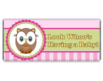 Look Whoo's Having a Baby! Owl Girl Baby Shower Favors Owl Girl Baby Shower Personalized Candy Bar Wrappers