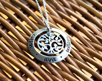 Hand Stamped Charm Jewelry Sterling Silver Washer with Tree of Life Charm