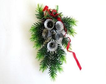 Vintage Christmas Holiday Glitter Bells  Door Wreath Garland Swag