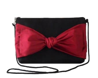 NINA,evening pouch in black gabardine, poppy red silk taffeta bow,evening bag,clutch bag, shoulder strap pouch bag