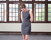 Spring mini dress, Work dress, Fitted dress, Sleeveless summer dress, Mod mini dress, Designer dress, Elegant grey dress, Retro style dress