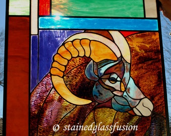 Stained Glass Window Panel Ram Big Horn Sheep Western red turquoise white purple