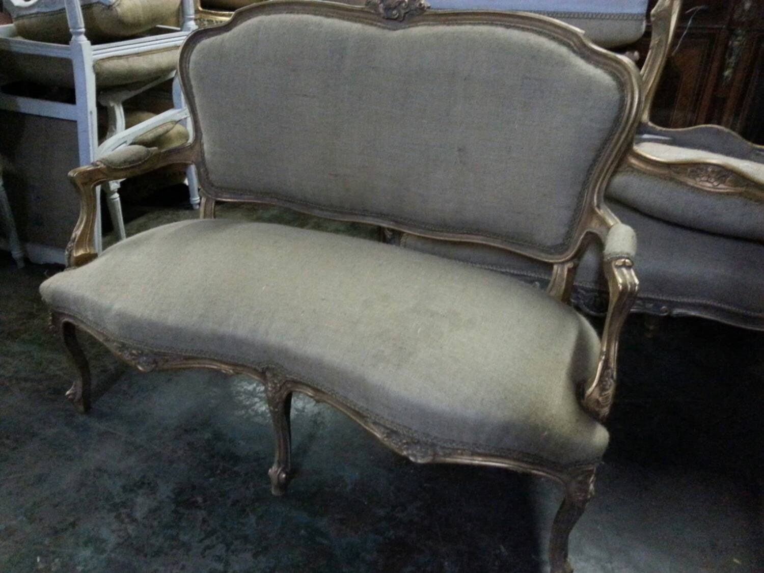French Rococo Style Bench With Burlap Upholstery Settee Sofa