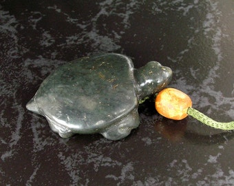 Ancient Jade Neolithic Turtle Pendant Necklace with Ancient/Antique Jade Beads by NeoWare
