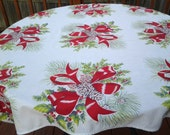Vintage Christmas holiday tablecloth - pinecones - red bows tablecloth - holly berries tablecloth - square tablecloth - holiday tablecloth