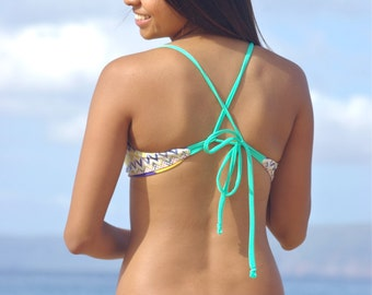 KAHEKILI Cross Back Halter Bikini Top - Create Your Own