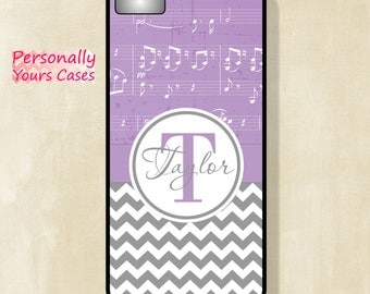 Personalized Phone Case - Monogram iPhone Case 4/4S - 5/5S -5C - 6 - 6 Plus - Grey Chevron and Violet Sheet Music - Tough Case