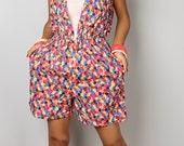 SALE 50 % !! Was 58 now 29 > Floral Romper - Short Summer Jumpsuit -  Boho Floral Jumper Beach Wear : Beach Dreams Collection