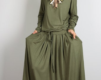 Green dress, khaki dress, maxi dress, long sleeve dress, muslim dress : MODEST Collection No.1s