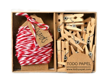 READY TO SHIP | Gift boxed bakers twine with mini clothespin set. Pretty office supplies cotton floss string many colors