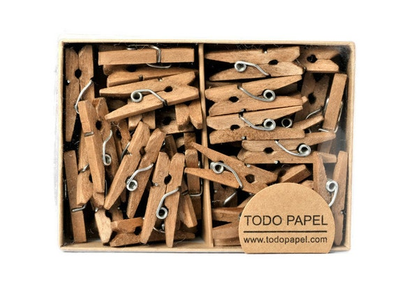 READY TO SHIP | Walnut stained mini clothespins wedding tag holder pegs in 1 inch. Home decor pegs in brown