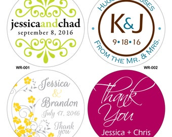 28 - 4 inch Custom Glossy Waterproof Wedding Stickers Labels - hundreds of designs to choose - change designs to any color or wording