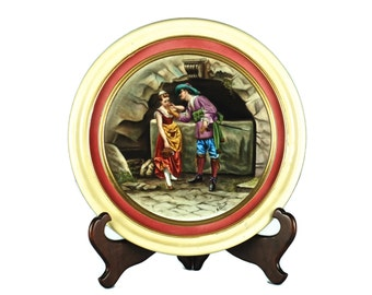 """Antique 19th century Count Thun Hand Painted Porcelain Wall Plaque - """"Am Brunnen"""" or """"At the Fountain"""" signed by A. Grund"""
