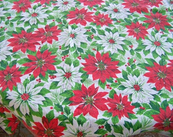 Vintage Poinsettia Tablecloth / Christmas Tablecloth / Red Poinsettias / White Poinsettias / Holiday Tablecloth / Oblong Tablecloth / Cotton